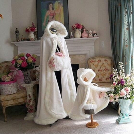 Long Warm Capes White Ivory Bride Winter Wedding Cloak Shawl Satin + Artificial Fur Cape Coat Adult SHAWL  Women Poncho