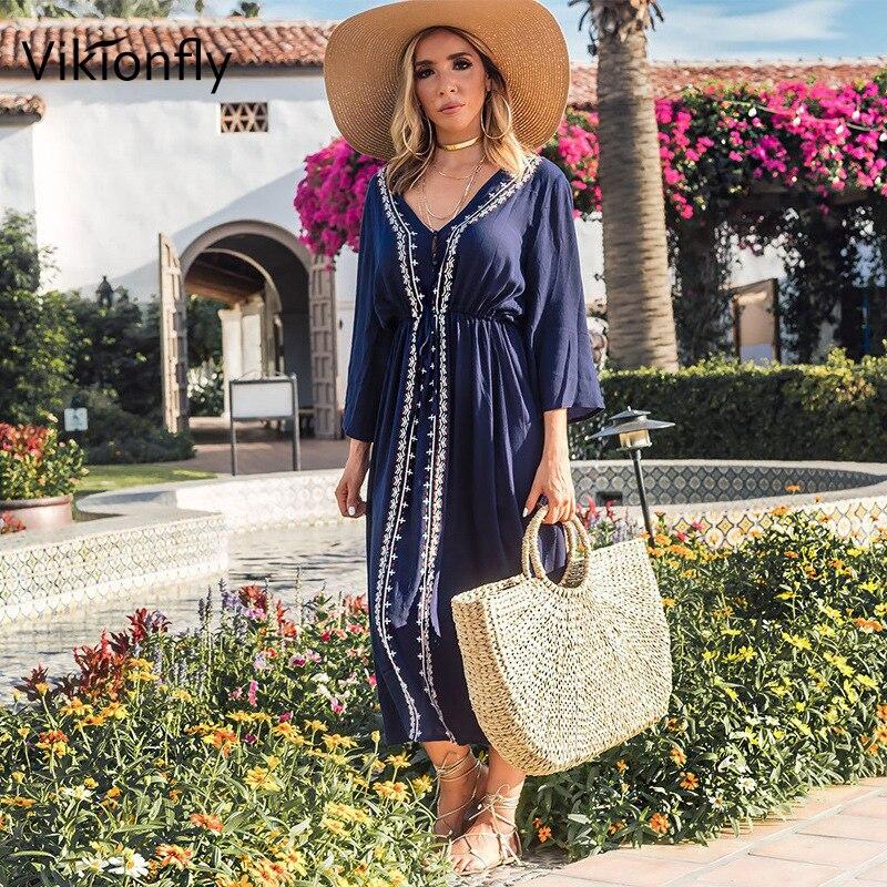 Vikionfly Long Summer Beach Dress Cover Up Women Embroidery Lace Kaftan Female Tunic Blue Bikini Swimsuit Bathing Suit Coverups