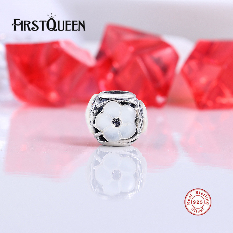 Firstqueen 925 Sterling Silver Hot Sale Luminous Floral Mother-of-pearl Charm Beads Fit Bracelets Bangles Fashion Jewelry E Charms