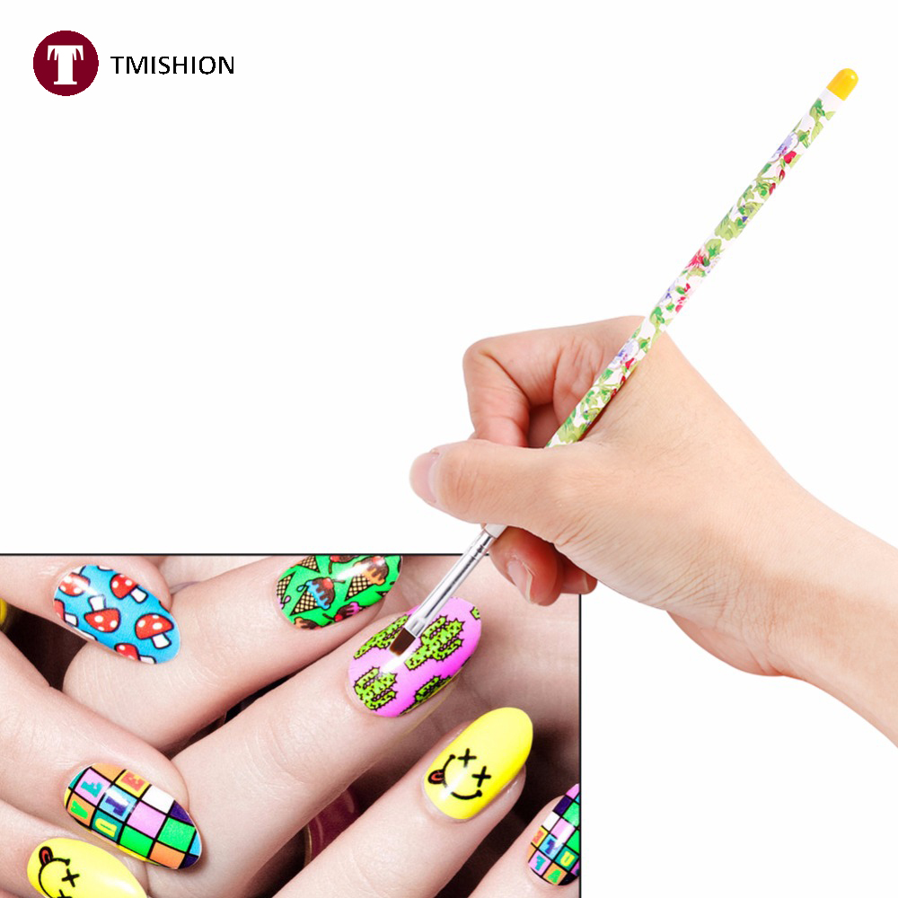 Tmishion 5pcs Lot Graffiti Nail Art Brush Pens Uv Gel Polish Painting Drawing Brushes