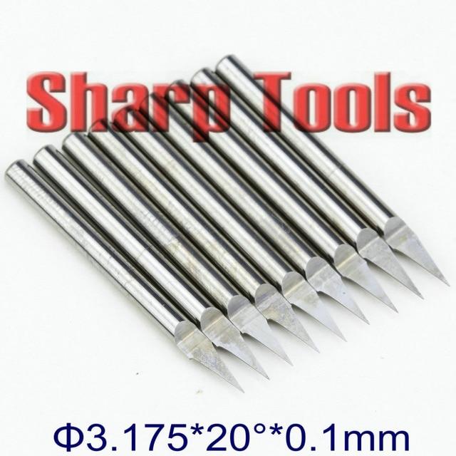 20 Angle 3.175 x 0.1mm V End Mill Tool PCB Engraving Bits,Flat Bottom