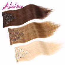 Alishow Clip In Human Hair Extensions Straight 8 Pieces/Set Remy Hair Full Head Set 160G Color #1 #2 #4 #613 UPS Shipping Free