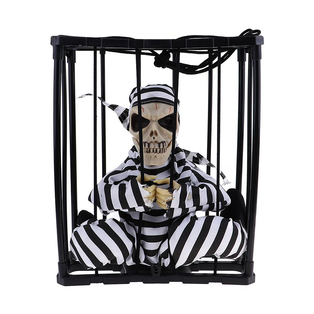 Halloween Tricky Props Toy Skeleton Skull Head Utter Ghosts Cage Toy Funny Party Electric Light Induction Toys Scary Doll Gift