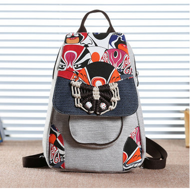 2017 New Multi use Appliques Backpack Hot Chinese elements Lady s Shopping Backpacks top casual Fashion