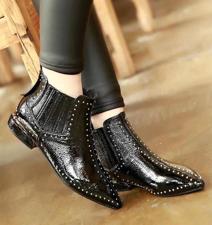 Verni Bout Chevalier Cuir Faible C3 Cheville Femmes Moto Talon En Chaussures Bottes Rivets Noir Pointu aExqxWHw