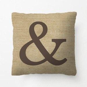 Ampersand Throw Pillow Burlap