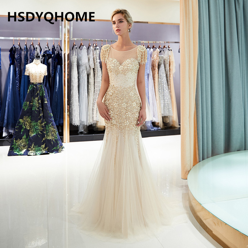 HSDYQHOME robe de soirée Champagne tulle perles robes de soirée pour les occasions gland cap manches robe de bal peu coûteuse