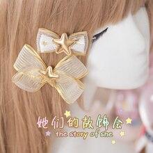 Принцесса сладкий лолита шпилька руководство бантом шпильки пентаграмма шифон ремень украшения головной убор золото летом GSH053