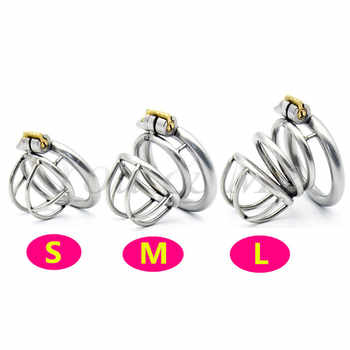 304 Stainless Steel 3 Size Bird Cock Cage Lock Adult Game Metal Male Chastity Belt Device Penis Ring Sex Toys For Men - DISCOUNT ITEM  8 OFF Beauty & Health