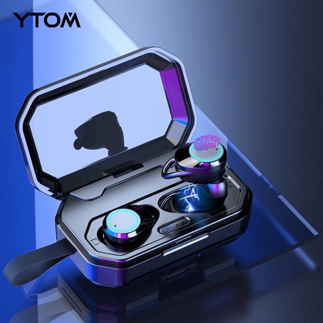 YTOM auriculares inalámbricos con Bluetooth 5,0, dispositivo 3D con batería de 3000 mAh, IPX6, para exteriores, para IOS y Android