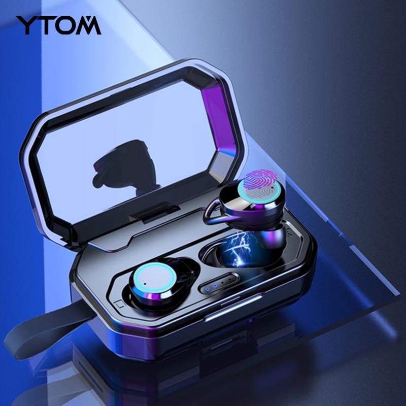 YTOM casque sans fil 5.0 Bluetooth 3D avec batterie externe 3000 mAh bip basse IPX6 extérieur sans fil écouteurs pour IOS Android