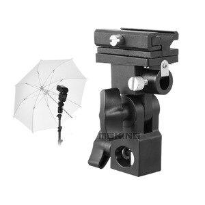 Image 2 - 2pcs Meking Flash Hot Shoe Speedlite Umbrella Mount Holder Swivel for Light Stand Flash Bracket B For Trigger Hot Shoe Flash