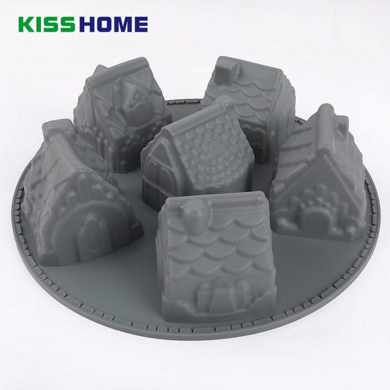 Delidge 1 pcs Small Gray House Cake Mold Silicone Christmas 6 Chiffon Molds DIY Fondant Mini Houses Baking Mould