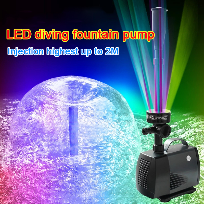 40W Water height 2m 2000l/h LED flashing light submersible water pump fountain pump fountain maker fish pond garden pool