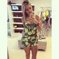 Novas mulheres da moda Calções Macacão sem mangas spaghetti strap casual Playsuit Romper com zíper moda mini verão