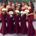 2017 Burgundy Sweetheart Full Lace Bridesmaid Dresses Plus Size Sexy Backless Long Mermaid Wedding Guest Dress Cheap Party Gown