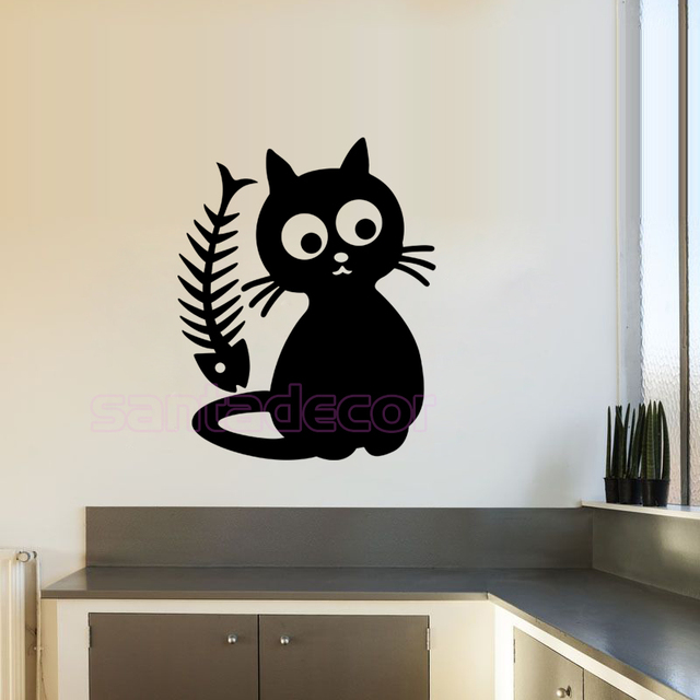Cute cat cuisine kitten removable vinyl wall sticker decals art kitchen tile fridge wallpaper kids room