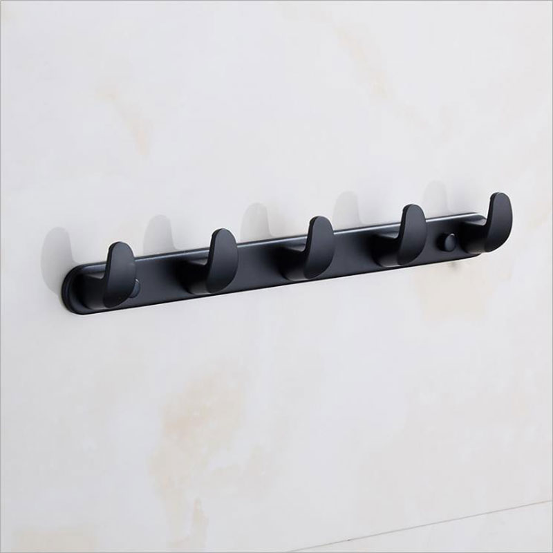 Matte Black Wall Mounted Coat Rack With