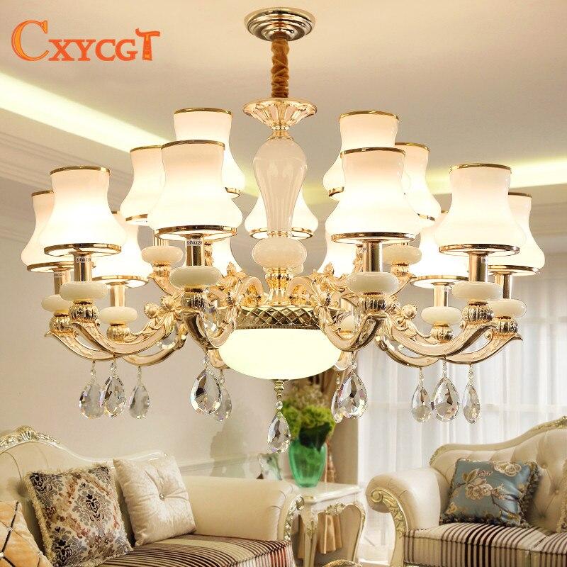 LED chandelier living room modern minimalist dining room lamp European luxury atmosphere warm bedroom crystal glass lampshade