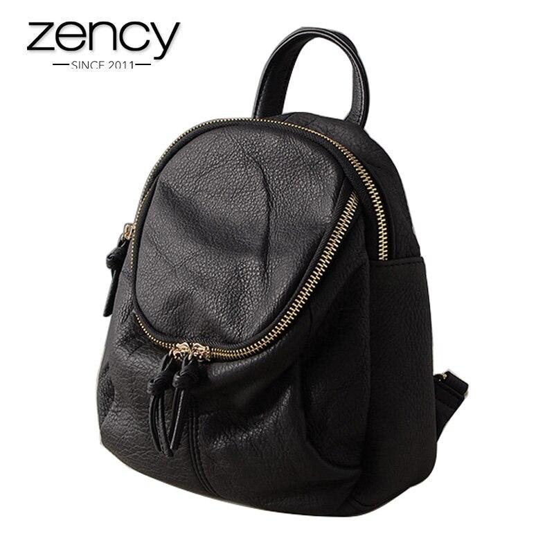 купить Top Quality Cowhide Leather Backpack for female Women's Fashion Vintage Daily Brands Bags Girl's Preppy Schoolbag Ipad Mini Hold по цене 1916.08 рублей
