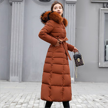 New Euro Style 2018 Long Winter Jackets Women Thickening Coat Fur Collar Warm Slim Hooded Outwear Parkas With Sashes Plus Size