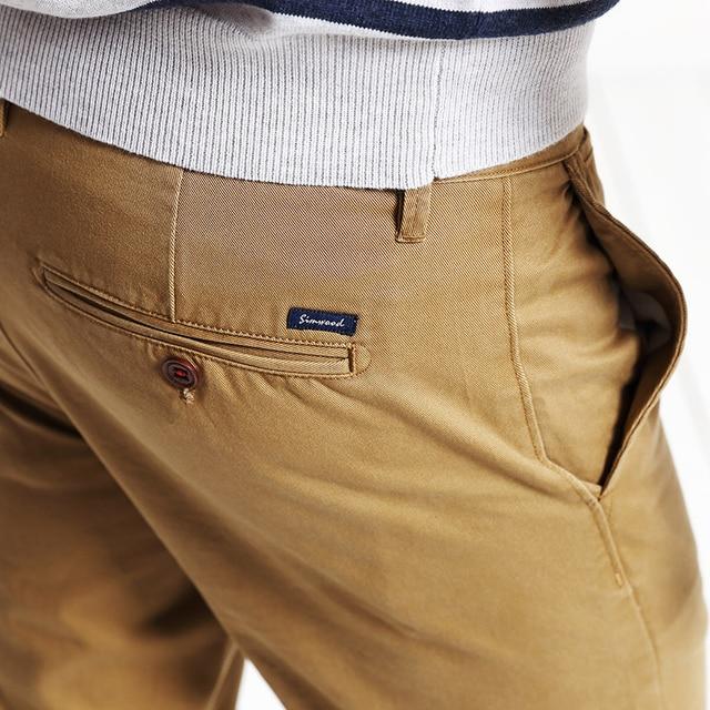 Simwood Brand Spring Winter New Fashion 2020 Slim Straight Men Casual Pants 100% Pure Cotton Man Trousers Plus Size  KX6033 5