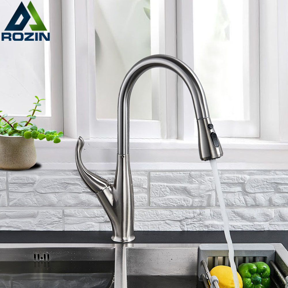 Brushed Nicel Pull Out Kitchen Faucet Deck Mounted One Hole Cold Hot Water Mixer Tap for