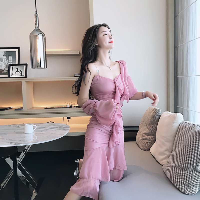2019 Summer Pink Three-quarter Sleeve Coat and Ruffles Spaghetti Strap Sexy Party Dress 2 Piece Set Women Suit Vacation Vestidos