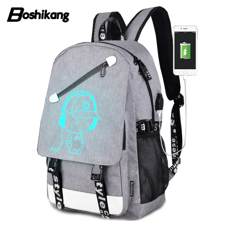 Boshikang Anti-theft Usb15.6inch Laptop Backpack Leisure School Backpack Teenager Large Capacity Casual Backpack Fashion Men Bag