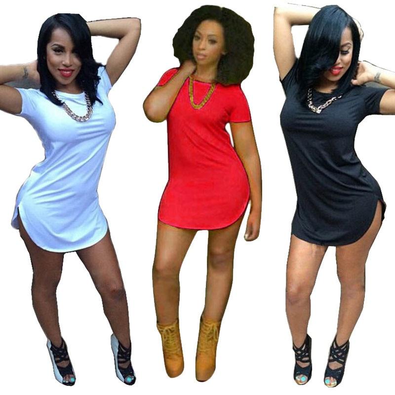 New Fashion 2018 Women Mini Dress Sexy Short Sleeve Side Slit Beach Dress Hot Sale Casual Party Dress plus size Hot Sales short dresses office wear