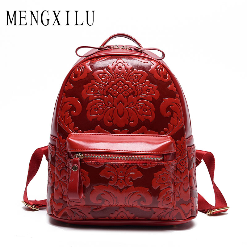MENGXILU New Fashion Chinese Printing Backpack For Teenage Girls High Quality Leather Backpack School Bags Female Backpack Women ranhuang brand new 2017 high quality women genuine leather backpack women s luxury backpack fashion bags for teenage girls a871