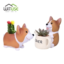 WITUSE Creative Resin Planter Flowerpot Cute Corgi Dog Garden Pots Succulent Plants Jardin Bonsai Desk Puppy Flower Pot Drop