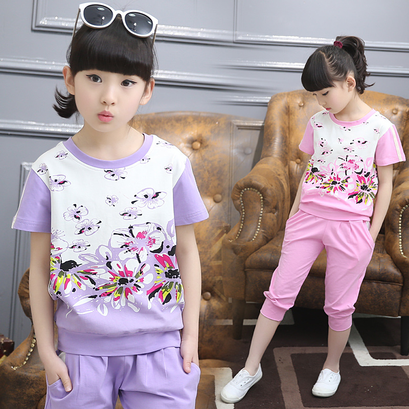 2018 Girls Clothes Set Cotton Floral Printing Summer childrens Clothing sets 2 Pieces Fashion Kids Sports Suit baby Outfits