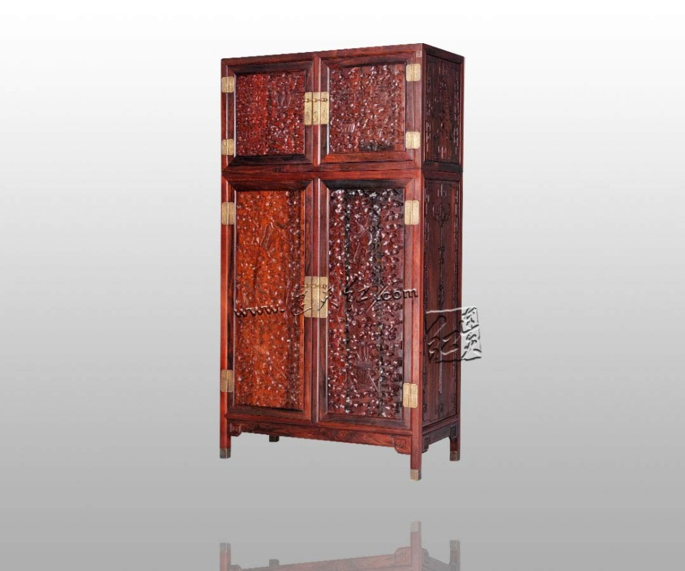 Europe And America Antique Rosewood Wardrobe Bed Room Solid Wood Furniture Padauk Garderobe Flat Sliding Door Closet Clothespres Clear-Cut Texture