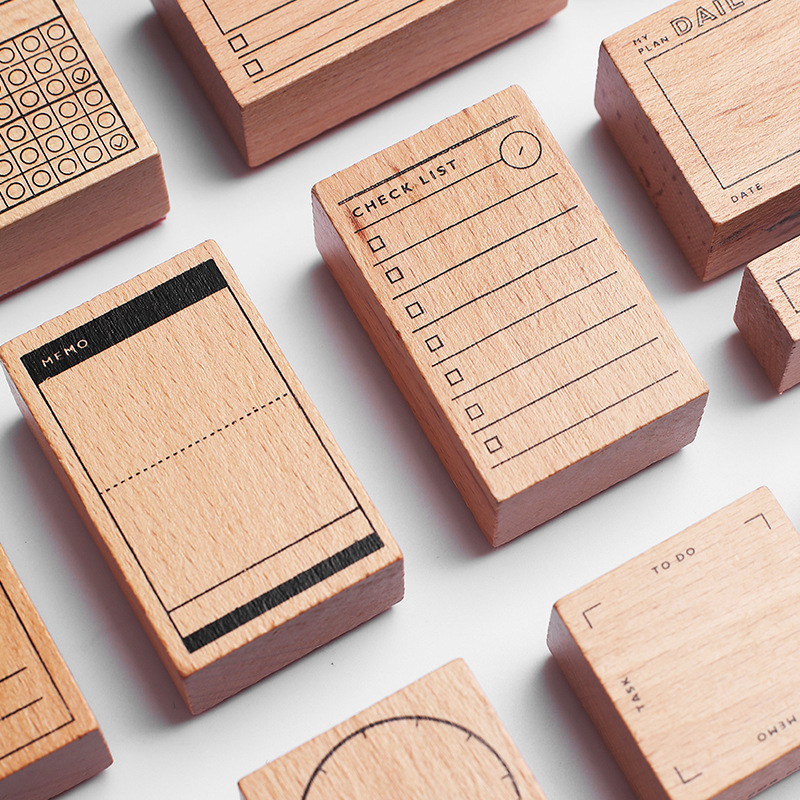 1pcs Digital Time Calendar Symbol Wooden Rubber Stamp Kids DIY Handmade Scrapbook Photo Album, Students Stamp Arts, Crafts Gifts