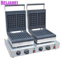 BEIJAMEI Snake Equipment Electric Belgium Waffle Iron Machine Commercial Double Head Square Belgian Waffle Making Machine