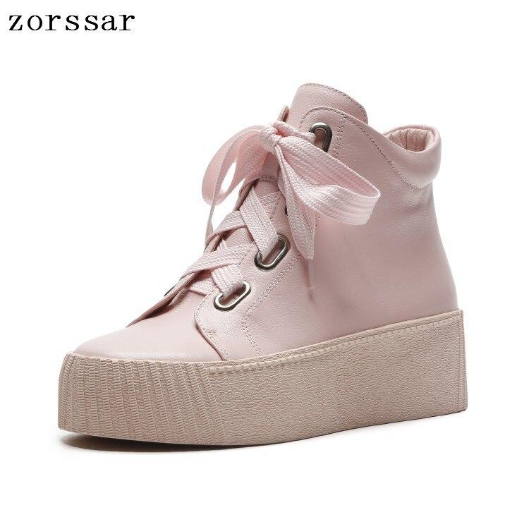 Zapatos E La De Alto Otoño Las 2018 rosado Tobillo Mujer Martin Mujeres Moda Plataforma Cuero blanco Botas Genuino Del Invierno {zorssar} Negro Tacón 06nzTT