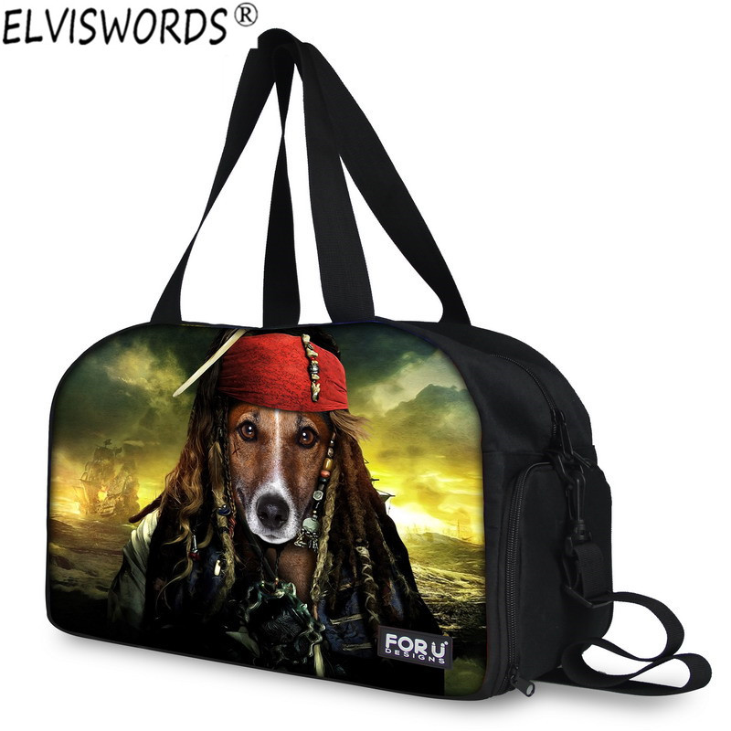 Wholesale 3d Pirate Dog Men's Travel Bags Waterproof Male Luggage Shoulder Bag Animal Duffle Bag Travel Duffle Bags ELVISWORDS