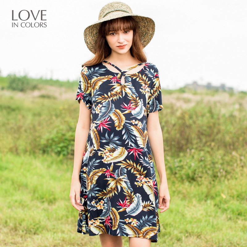 Loveincolors Maternity Women Romantic tropical Rainforest Printing Dress Soft Pregnant Clothes