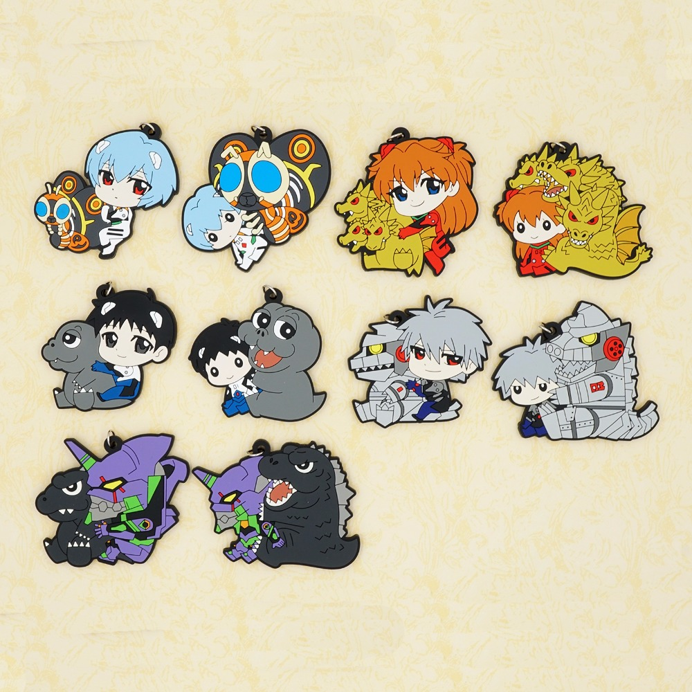 Neon Genesis Evangelion Anime Rei Ayanami Asuka Kaworu Nagisa Shinji Ikari EVA00 PROPOTYPE Kaiju Rubber Keychain цена