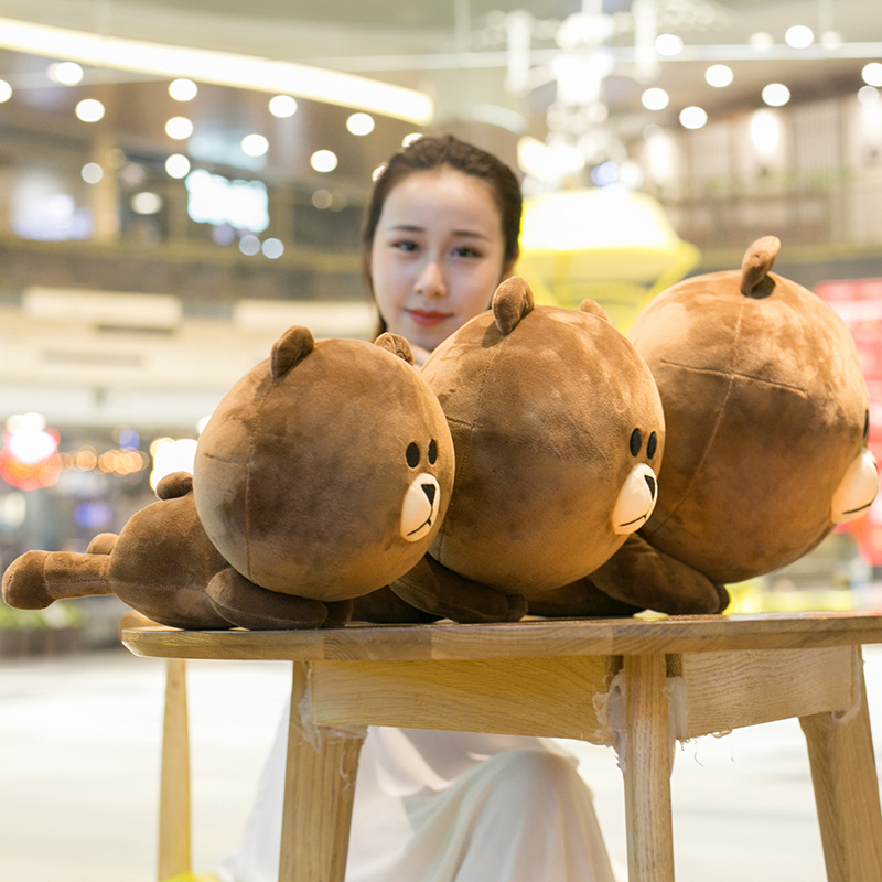 30/45 cm Soft Adorable Korean Line Town Dino Brown Bear Plush Toy Pillow Stuffed Cartoon Bear Cushion Toy For Fans