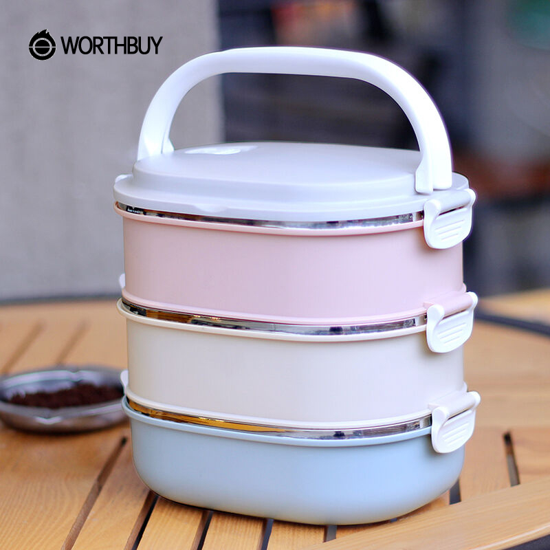 WORTHBUY 304 Stainless Steel Lunch Box Japanese Kids Bento Box Portable School Picnic Thermal Lunchbox Container For Food