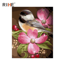 RIHE Bird Flower Diy Painting By Numbers Animal Oil On Canvas Hand Painted Cuadros Decoracion Acrylic Paint Home Decor