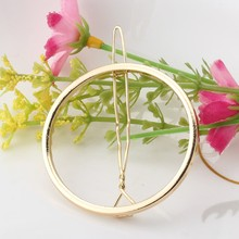 Hair Clip PinTriangle Metal Geometric Alloy Hairband Moon Circle Hairgrip Barrette Girls Holder