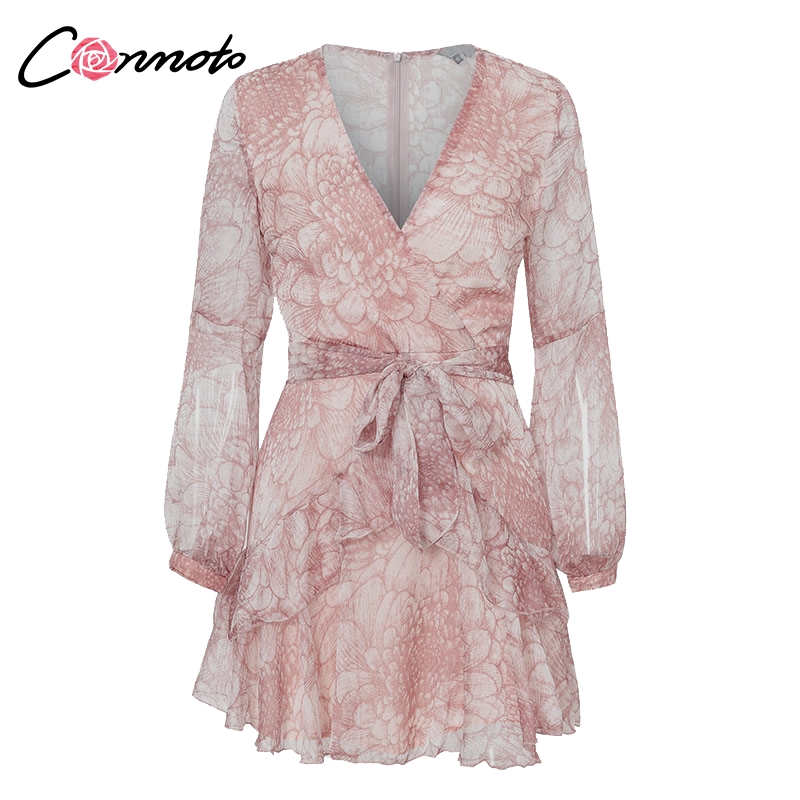 Conmoto Vintage Print Summer Dresses Female Elegant Party Short Dress Bow Sexy Ruffles Chiffon Dress Women Vestidos 2 Colors