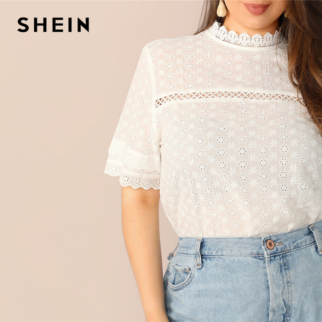 SHEIN Boho Plus Size White Contrast Lace Insert Schiffy Stand Collar Plain Top Blouse Women 2019 Spring Casual Top Blouses 4