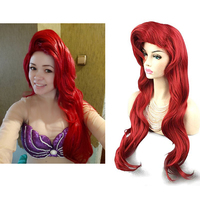 The Little Mermaid Cosplay Ariel Party Wig Hair Red Wig Body Wave Wavy Wig Cosplay Princess Party Ariel Wig Role Play Costume