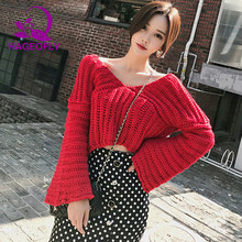 3c4705a6960d3 Winter New Korean Two Pieces Sets Dress Red Short Flare Sleeve Sweater Tops  Sexy Dot Ruffles