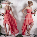 Coral Colored Chiffon Backless Bridesmaid Dresses 2017 Sweetheart Rucehd Custom Made Wedding Party Gowns