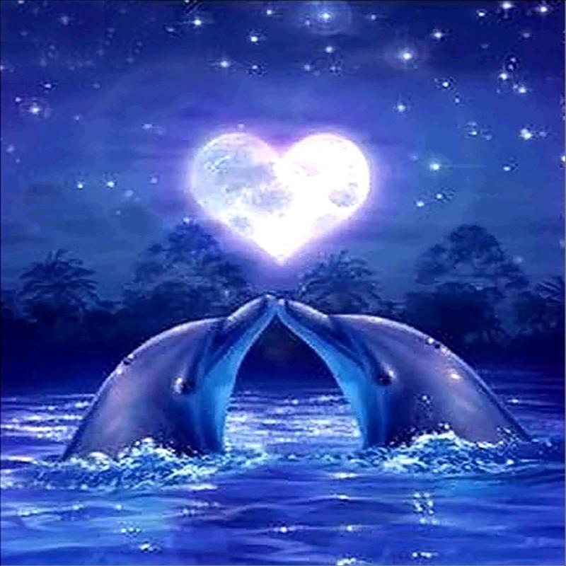 Romantic Dolphin Animals 5D Diamond Painting Love Heart ...
